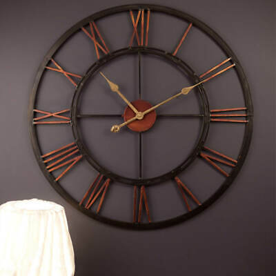 Large Wall Clock 70cm KALI Metal Industrial Iron Vintage French Provincial NEW