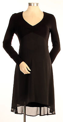 New Japanese Weekend Maternity & Nursing Black Flowy Chiffon Skater Dress S 6 8