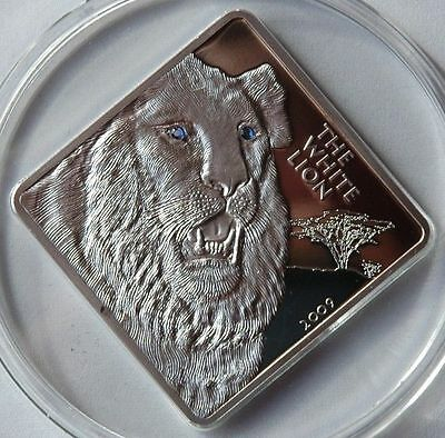 Rare 2009 Malawi Huge 2 Oz Proof Silver 50 Kwacha-White Lion w/Crystal eyes