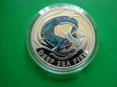 2011 Pitcairn  Color Proof Silver $2 Blue monster fish-Deep Sea