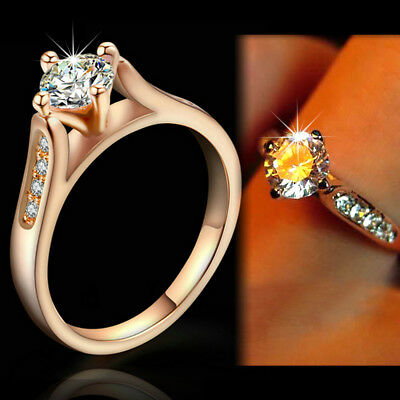 18K Rose Gold Gf Simulated Solitaire Diamond Engagement Wedding Women Solid Ring