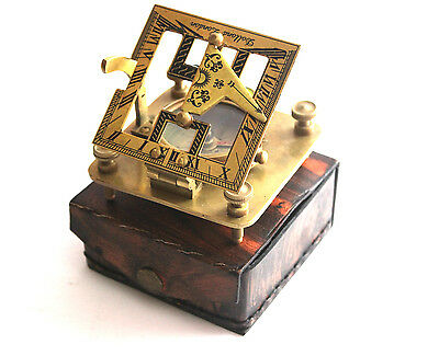 Solid Brass Sundial  Compass with leather case - Dollond London