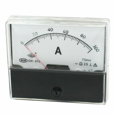 DH-670 Rectangle Dial DC 0-100A Current Teste Panel Analog Ampere Meter