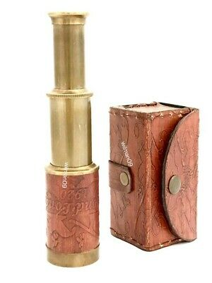 "Brass Pocket Telescope - Pocket Tapered Telescope 6"" with Hard leather box"