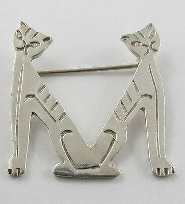 P-60 Mexico Taxco Sterling Silver Cat Brooch In 'm' Design See Pictures