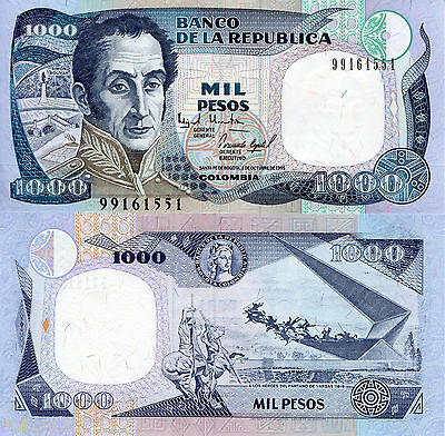 COLOMBIA 1000 Pesos Banknote World Money Currency BILL S America p438 1995 Note
