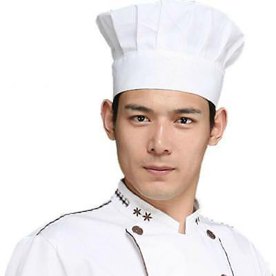 Elastic White Chef Hat Baker BBQ Kitchen Cooking Hat Costume Cap One Size OC