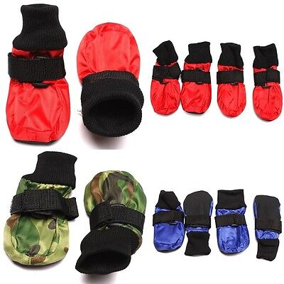 1set Pet Dog Waterproof Boots Paws Protect Skidproof Anti-slip Shoes 3Color 6L