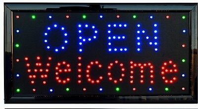 open welcome led schild leuchtreklame stopper neon werbung extra hell neu eur 99 99. Black Bedroom Furniture Sets. Home Design Ideas