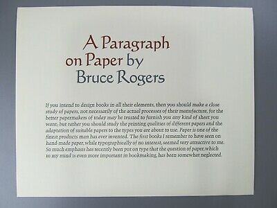 A Paragraph on Paper, by Bruce Rogers, Adagio Press, Limited to 196 Copies