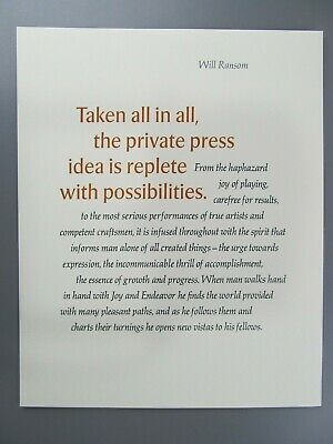 Taken All in All, The Private Press..., Will Ransom, Adagio Press Broadside 1983