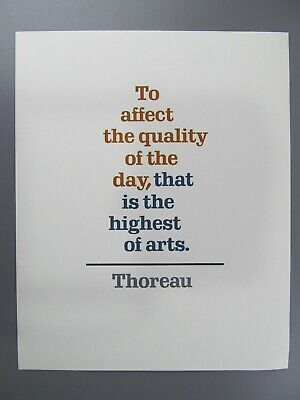 To Affect the Quality of the Day, Thoreau, Adagio Press Broadside 1981