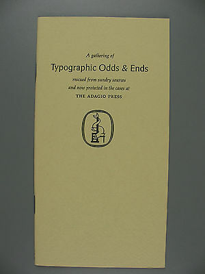 Typographic Odds and Ends, Leonard F. Bahr, Adagio Press, 1970, Limited Edition
