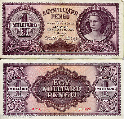 HUNGARY 1 Milliard Pengo Banknote World Paper Money Currency p125 VF+ BILL note