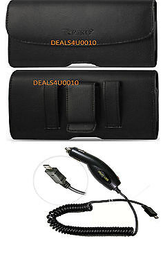 BELT CLIP LEATHER POUCH CASE HOLSTER FOR SONY XPERIA Z1,Z2 & Z3 +CAR CHARGER