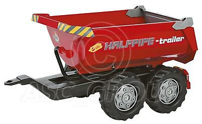 Rolly Toys - Large Red Halfpipe tipping Trailer Twin Axle for Rolly Tractors