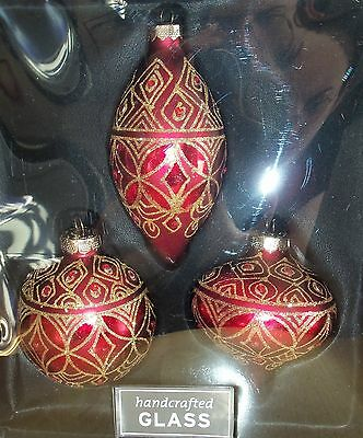 Red + Gold Glass Ornaments Set of 3
