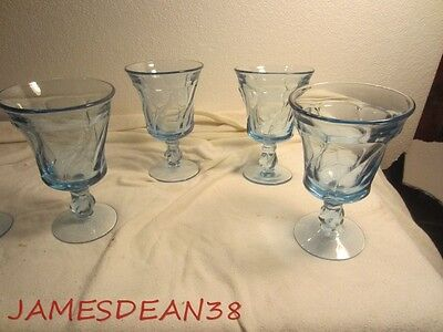 Fostoria Jamestown Blue Water Glasses Stems Lot Of 4