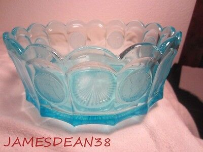 "Blue Fostoria Coin Glass 7.25"" Bowl"