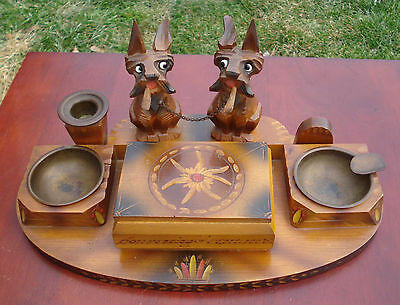 Vintage Hand Carved Wooden Scottie Dogs Smoking Set, Adorable