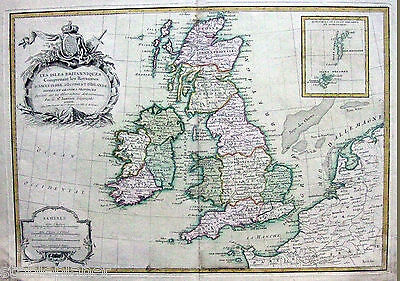 BRITISH ISLES 1762 Janvier ENGLAND SCOTLAND IRELAND WALES Original ANTIQUE NICE!