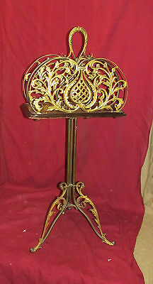 Antique Victorian Revolving Magazine or Book Stand Bronze French Style