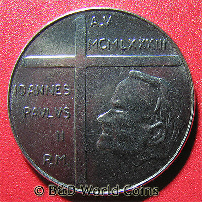 VATICAN CITY 1983 100 LIRE GOD GIVES WORLD TO MANKIND PAUL II CROSS 28mmSTAINLES