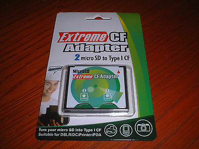 Extreme CompactFlash Card Adapter for microSD ( 2x ) to Type I CF upto 128GB