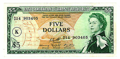 East Caribbean States ... P-14l ... 5 Dollars ... ND(1965) ... *VF*