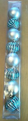 Christmas Ornaments Set of 8 Blue + Silver