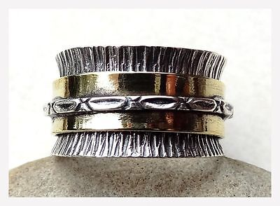 GENUINE 925 Solid Sterling Silver Copper SPINNER RING SIZE Q 1/2 ~ 8 1/2