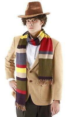 Adult Fourth Doctor Dr. Who Striped 6.5' Long Deluxe Scarf Nerd Gift Men Women