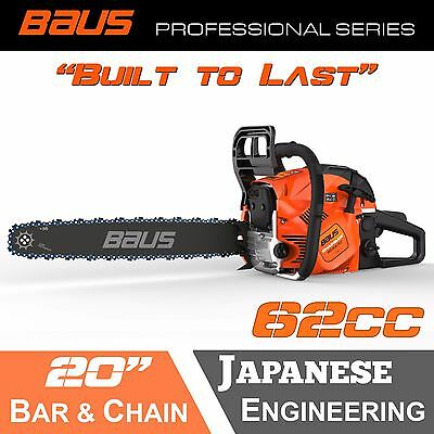 """NEW BAUS 62cc Petrol Commercial Chainsaw 20"""" Bar E-Start Chain Saw tree pruning"""