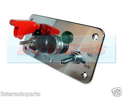 Flip-Up Push Button Engine Start Ignition Switch Panel Chrome Rally Car Marine