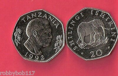 TANZANIA 20 Shillings Coin World Money Currency 1993 Africa 20/- Elephant