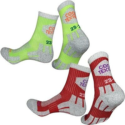 4 Pairs Lot Womens Green Red Camping Walking Hiking Outdoor Trekking Socks