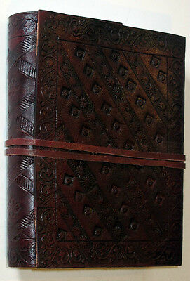 Handmade Paper & Leather 4x6 Embossed Journal with Tie - Tri-fold NEW