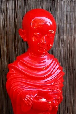 Artwork Red Statue  - Beautiful Bright Red Little Boy Buddha with Bowl Statue