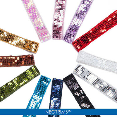 Neotrims Square Sequins Embellished Ribbon Trimming 24mm Salwar Sari Embroidery