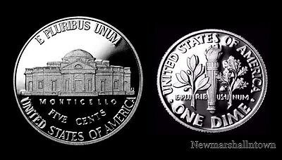 2014 S Jefferson Proof Nickel & Roosevelt Dime ~ Mint Proof Set of Two US Coins