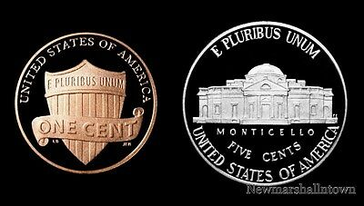 2014 S Lincoln Shield Penny & Jefferson Nickel ~ Mint Proof Set of Two U.S. Coin