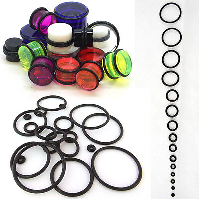 10 Piece /Set Black O-Rings Replacement Rubber Bands Plugs Gauges Tapers Tunnels