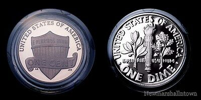 2014 S Lincoln Shield Penny & Roosevelt Dime ~ Encapsulated Mint Proof Set of 2