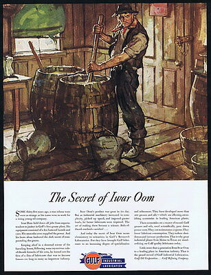 1936 Gulf Oil Iwar Oom Grease Compounds Lubricants Vintage Print Ad