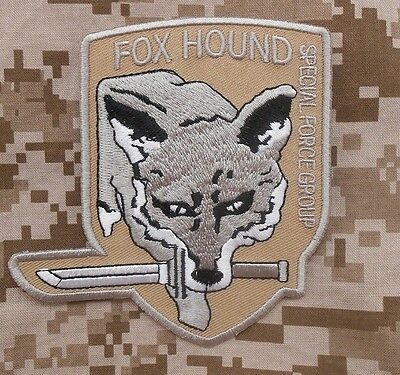 """METAL GEAR SOLID FOXHOUND FOX SPECIAL FORCE GROUP DESERT ARID VELCRO PATCH 4"""""""