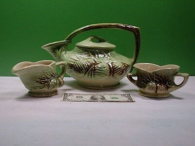 """Collectible Nelson McCoy Teapot, Creamer, and Sugar Bowl Vintage 1940""""s"""