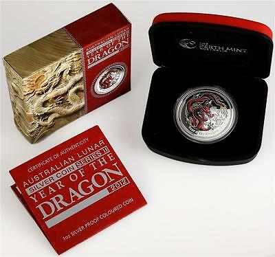 Australia 2012 Lunar year of the Dragon Red 1oz Proof Silver Coin RARE