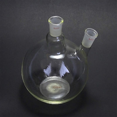 2000ml,24/40,2-Neck,Flat Bottom Glass Flask,2L,Two Necks,Laboratory Vessel