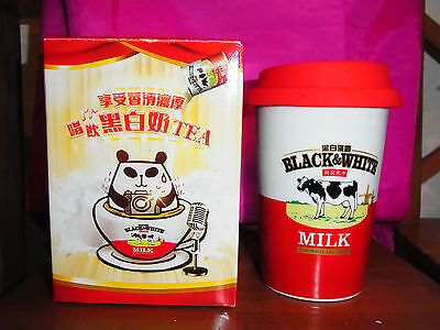 Black & White COW Deaf cat Saucers Espresso Milk Tea Coffee Double-insulated cup