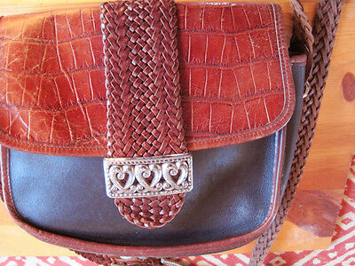 Genuine Brown  and black Leather Brighton Shoulder Bag with silver trim